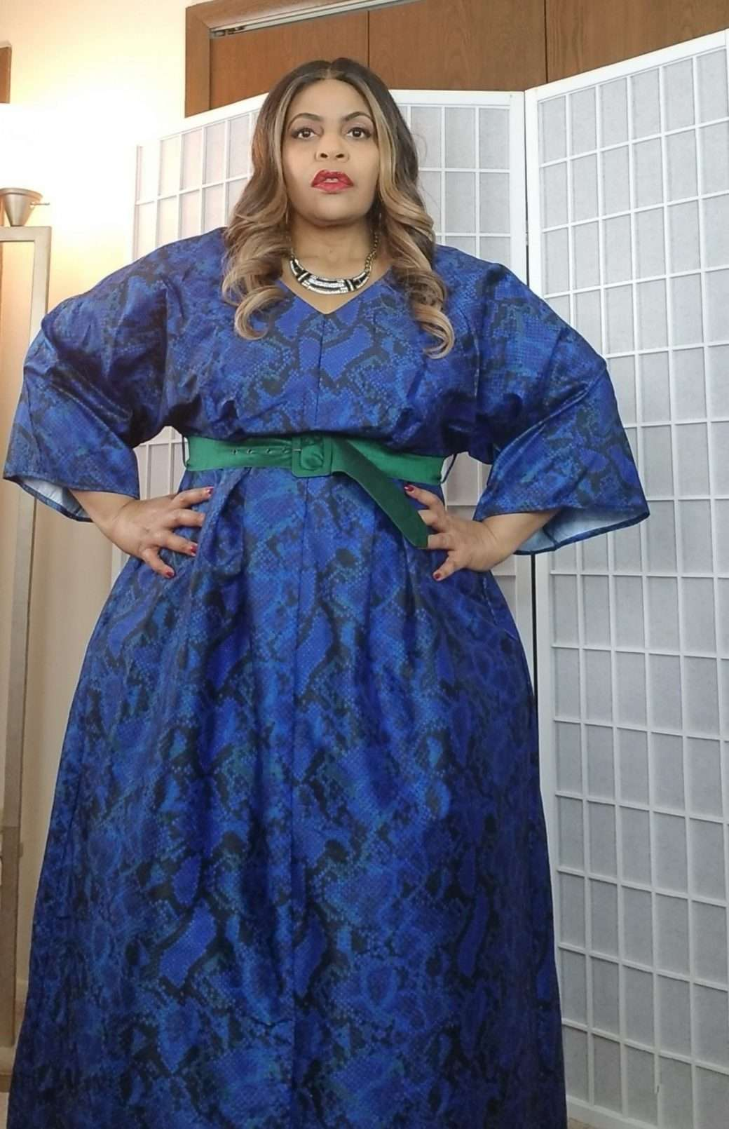 eShakti custom plus size blue snake dress