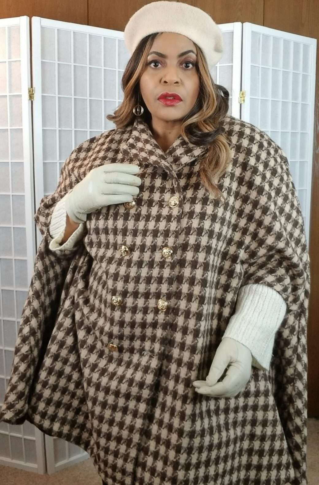 SHEIN Herribone Plus Size Women's Winter Coat Cape