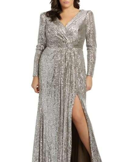 Nordstrom Mac Duggal Sequin Long Sleeve Gown