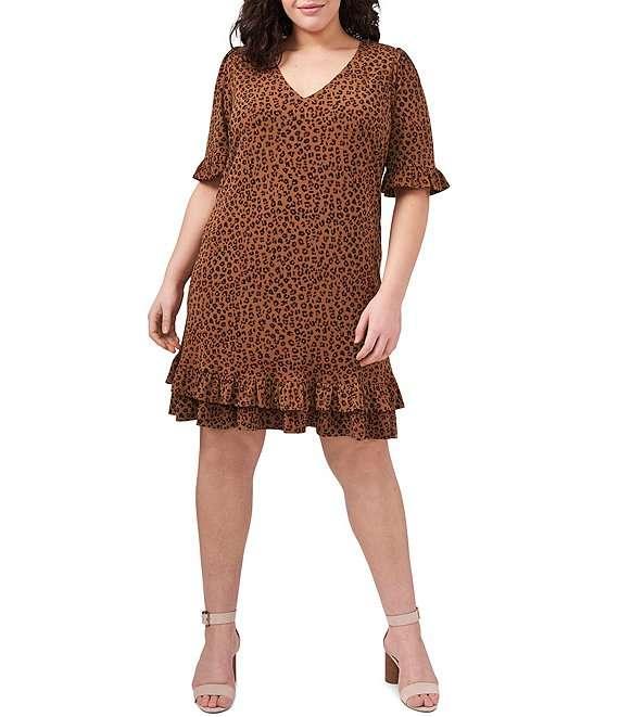 Plus Size Ruffled Short Sleeve Leopard Print Knit Dress