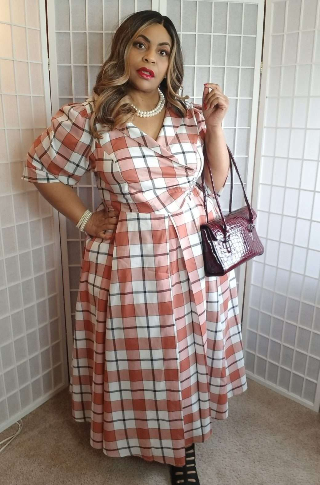eShakti 50s Custom Plus Size Plaid Dress