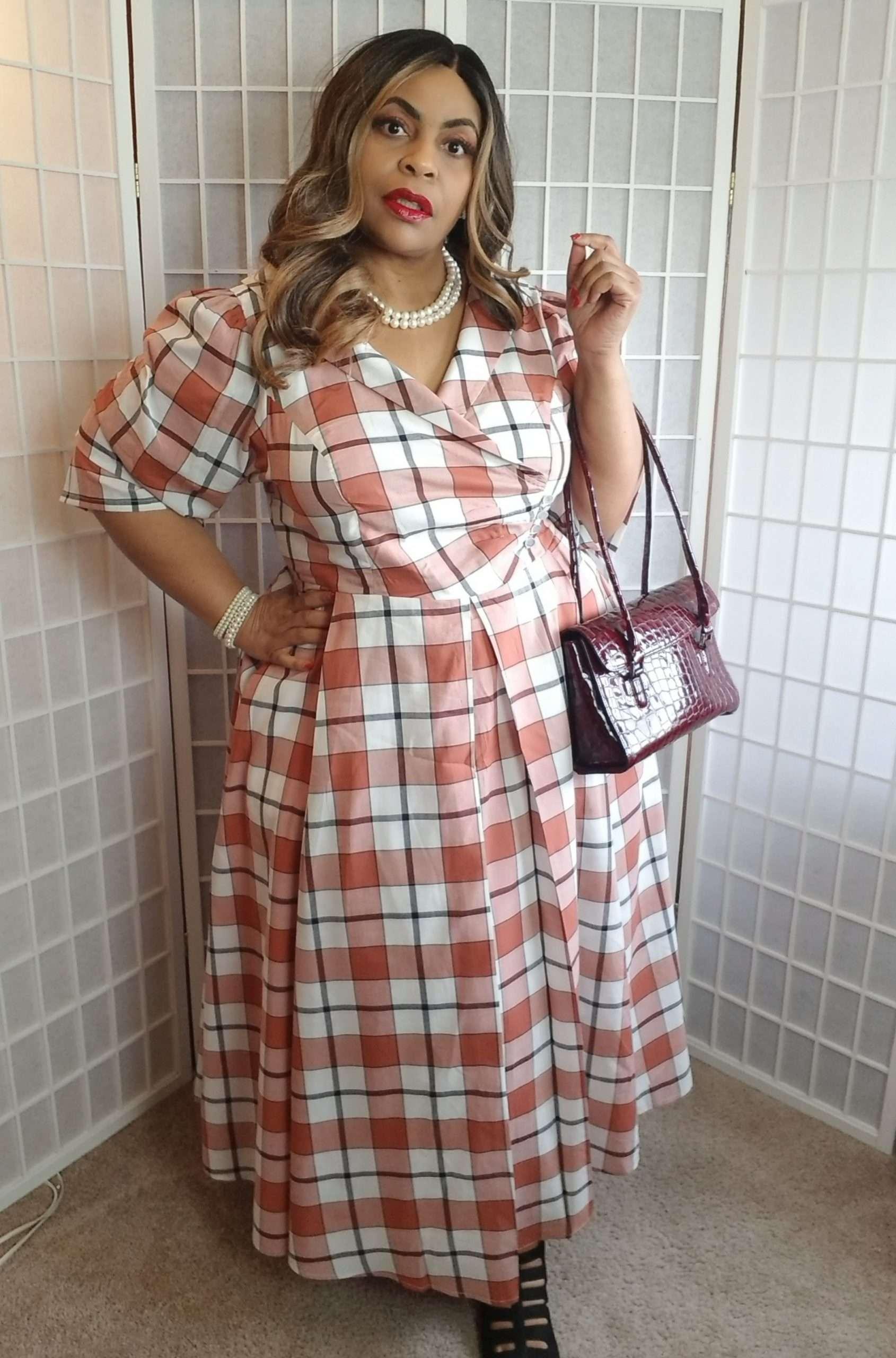 eShakti Custom Plus Size Plaid Dress