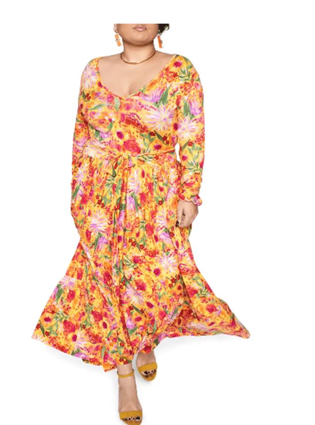 Zelie for She Blissful Long Sleeve Maxi Dress