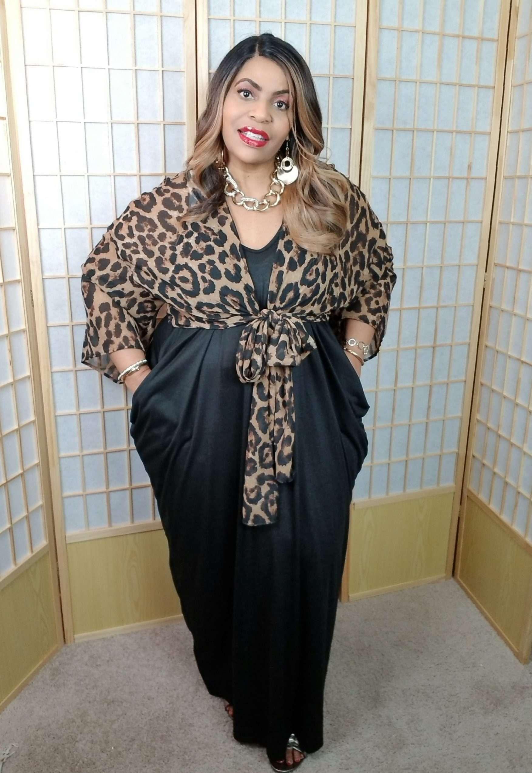 SHEIN Plus Size Leopard Crop Kimono Top