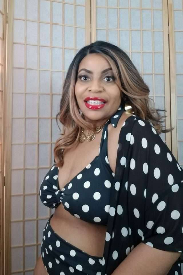 Esther Williams Plus Size Black and White Polka Dot Bikin