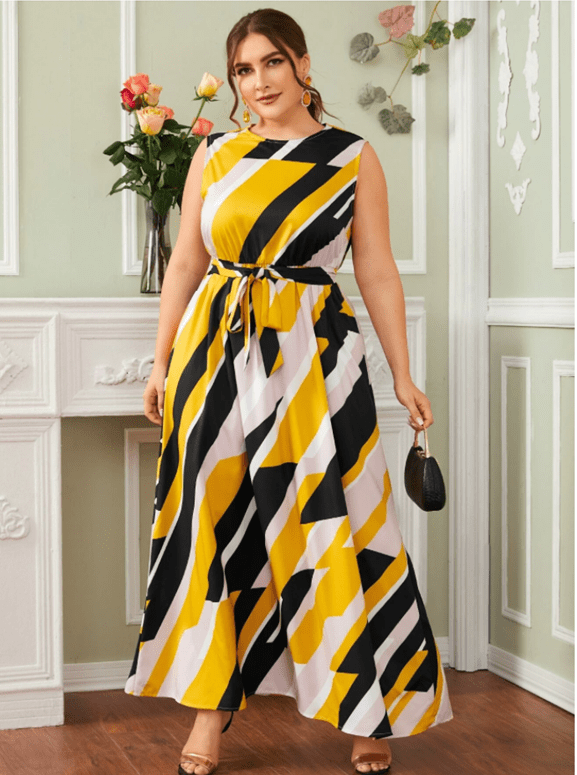 Cultured Curves SHEIN Plus Color Block Geo Belted Maxi Dress