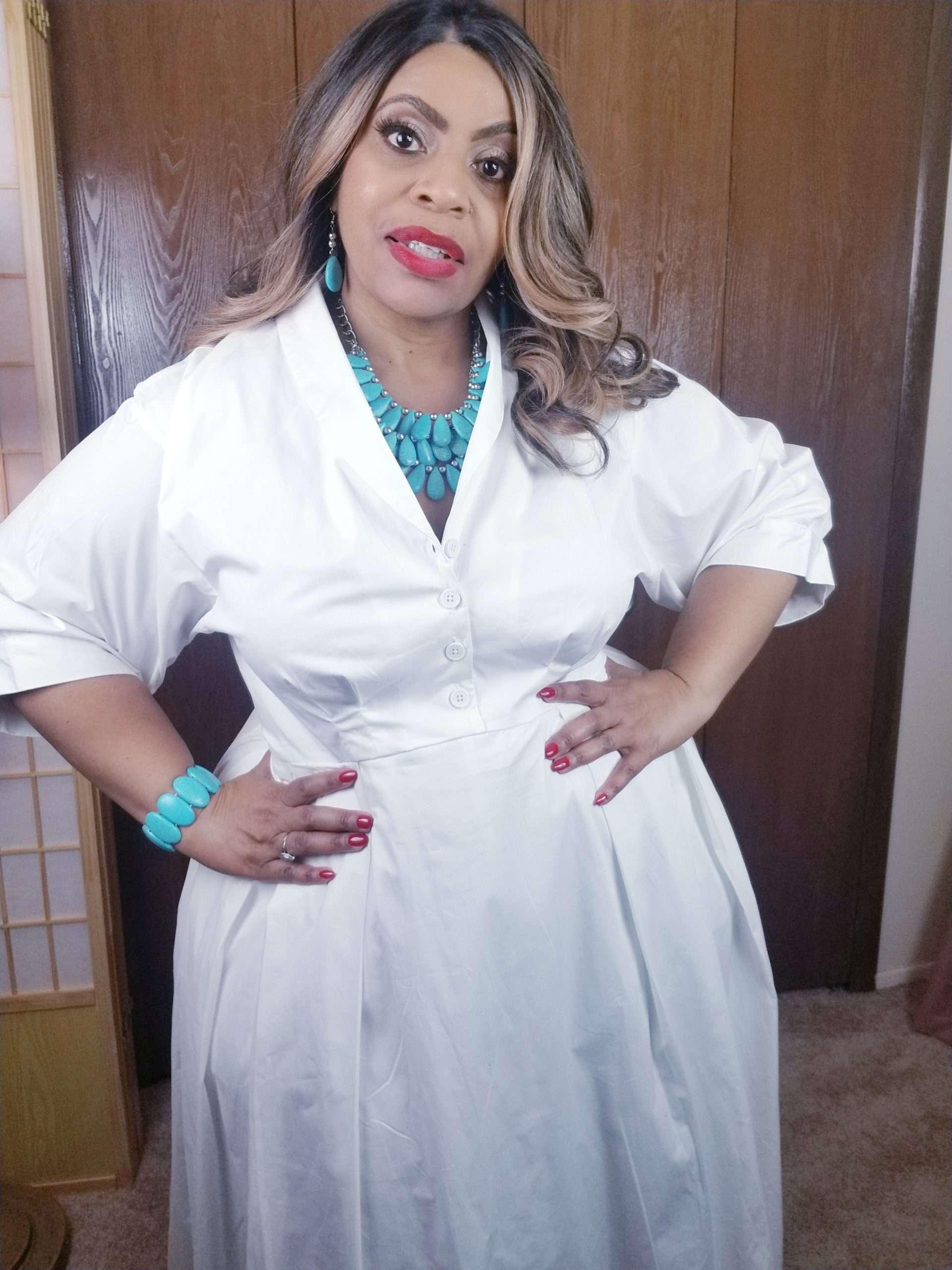 Cultured Curves White Eshakti Custom Dress