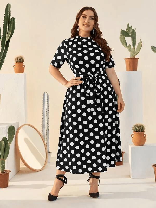 SHEIN Plus Size Black and White Polka Dot Dress