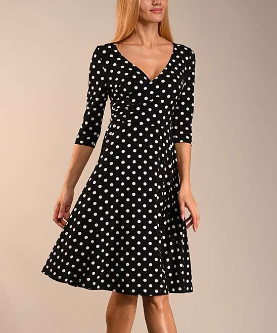 Zulily Lbisse Black and White Plus Size Polka Dot Dress
